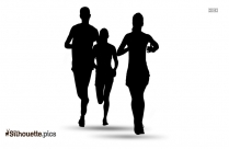 Couple Jogging Illustration Silhouette Drawing