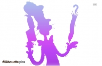 Funny Cat With Hat Silhouette Clipart