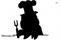 Pig With Umbrella In The Rain Silhouette