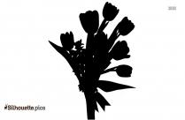 Black And White Single Tulip Silhouette