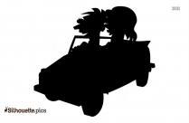 Girl And Boy Driving Car Cartoon Silhouette