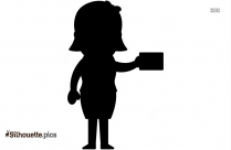 Girl Holding Letter Silhouette Clip Art