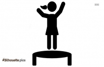 Black And White Girl Jumping In Leaves Clip Art Silhouettw