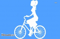 Girl Riding Bicycle Silhouette