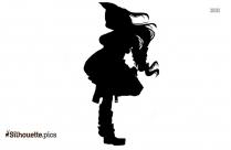 Cartoon Racing Girl Silhouette Clipart