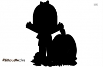 Girl With Vegetables Silhouette Background