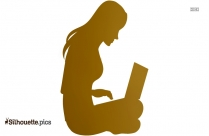 Girl Working On Laptop Clip Art Silhouette