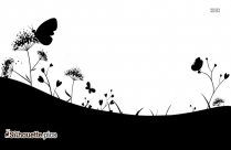 Grass With Butterflies Logo Silhouette For Download