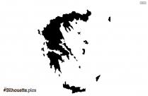 Greece Map Silhouette Art, Clipart