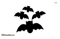 Group Of Bats Flying Silhouette