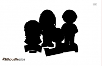 Happy Family With Kids Silhouette