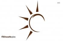 Black Half Sun Silhouette Art
