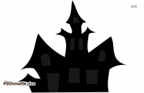 Halloween Haunted House Silhouette Drawing, Scary House Illustration