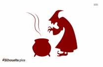 Halloween Witch Cooking Silhouette Vectors