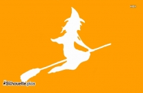 Halloween Witch Flying Outline Drawing