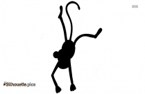 Black And White Cute Cartoon Monkey Silhouette