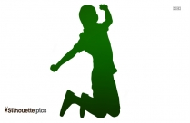 Happy Boy Jumping Silhouette
