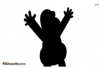 Happy Cartoon Character Silhouette