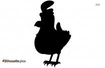 Happy Cartoon Chicken Silhouette