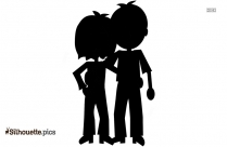 Happy Couple Clipart, Black And White Silhouette