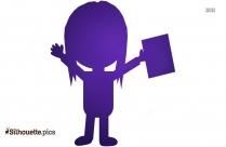 Cartoon Cartoon Girl With Toy Silhouette