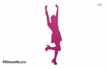 Cartoon Characters Happy Girl Silhouette