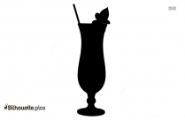 Tropical Drink Silhouette Drawing
