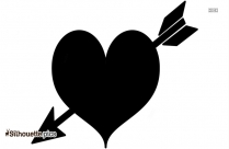 Heart And Arrow Clipart, Valentine Day Symbol Silhouette