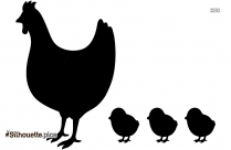 Baby Chickens With Hen Silhouette
