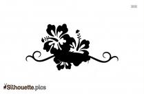 Boho Border Silhouette, Black Flower Border Clipart