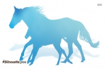 Horse And Baby Horse Running Silhouette