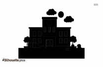Factory Building Silhouette Icon On Blue Background