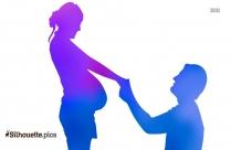 Cute Pregnant Woman Cartoon Silhouette