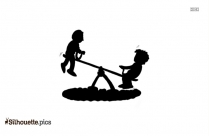 Kids Seesaw Silhouette Clipart