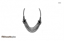 Indian Diamond Necklace Silhouette Clipart