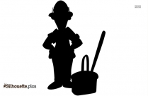 Janitor Silhouette, Man With Mopstick Black And White Clip Art