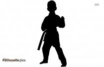 Boy Kicking Silhouette Free Vector Art, Karate Clipart Symbol