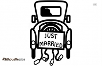 Just Married Car Silhouette Illustration