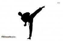 Karate Girl Kick Silhouette Clip Art