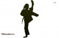 Black And White Kick Boxer Silhouette