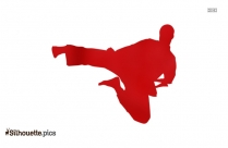 Karate Pose Silhouette Clip Art Image