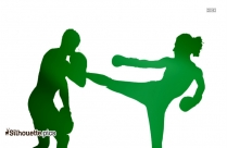 Female Kick Boxing Clipart Silhouette