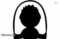 Cartoon Boy Skipping Silhouette