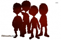 Kids Holding Hands Silhouette Art