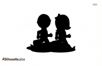 Kids Playing Silhouette Clipart, Kids Vector Illustration