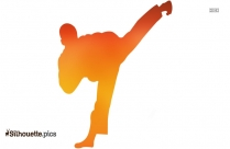 Chinese Boy Performing Kung Fu Silhouette