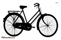 Cartoon Ladies Bicycle Silhouette
