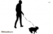 Lady Walking With Dog Silhouette Image And Vector