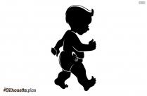 Little Baby Boy Walking Silhouette