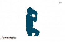 Cartoon Baby Squatting Silhouette